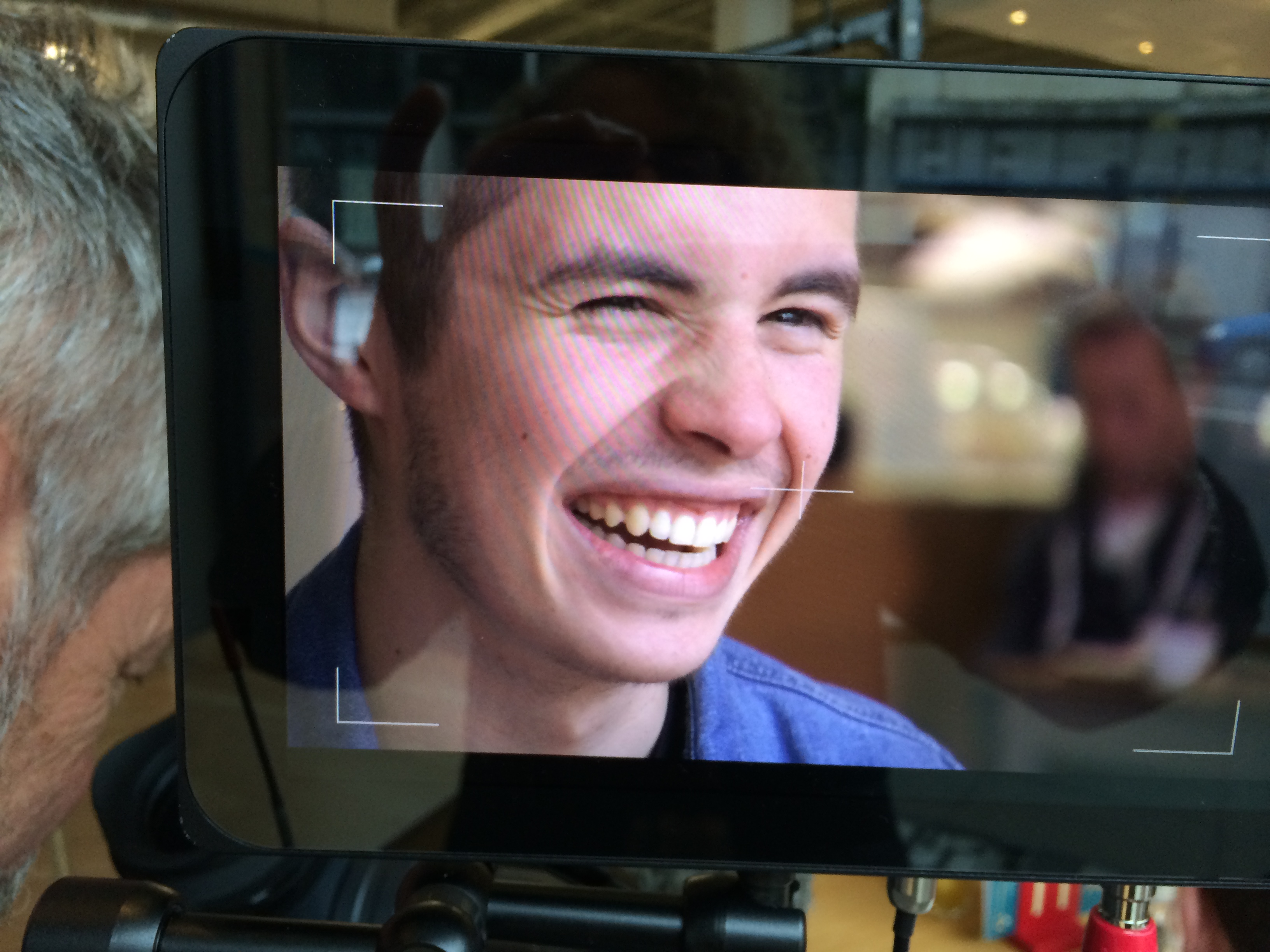 EMT performer Robbie Noble gets the close-up treatment, as seen on the producer's monitor.