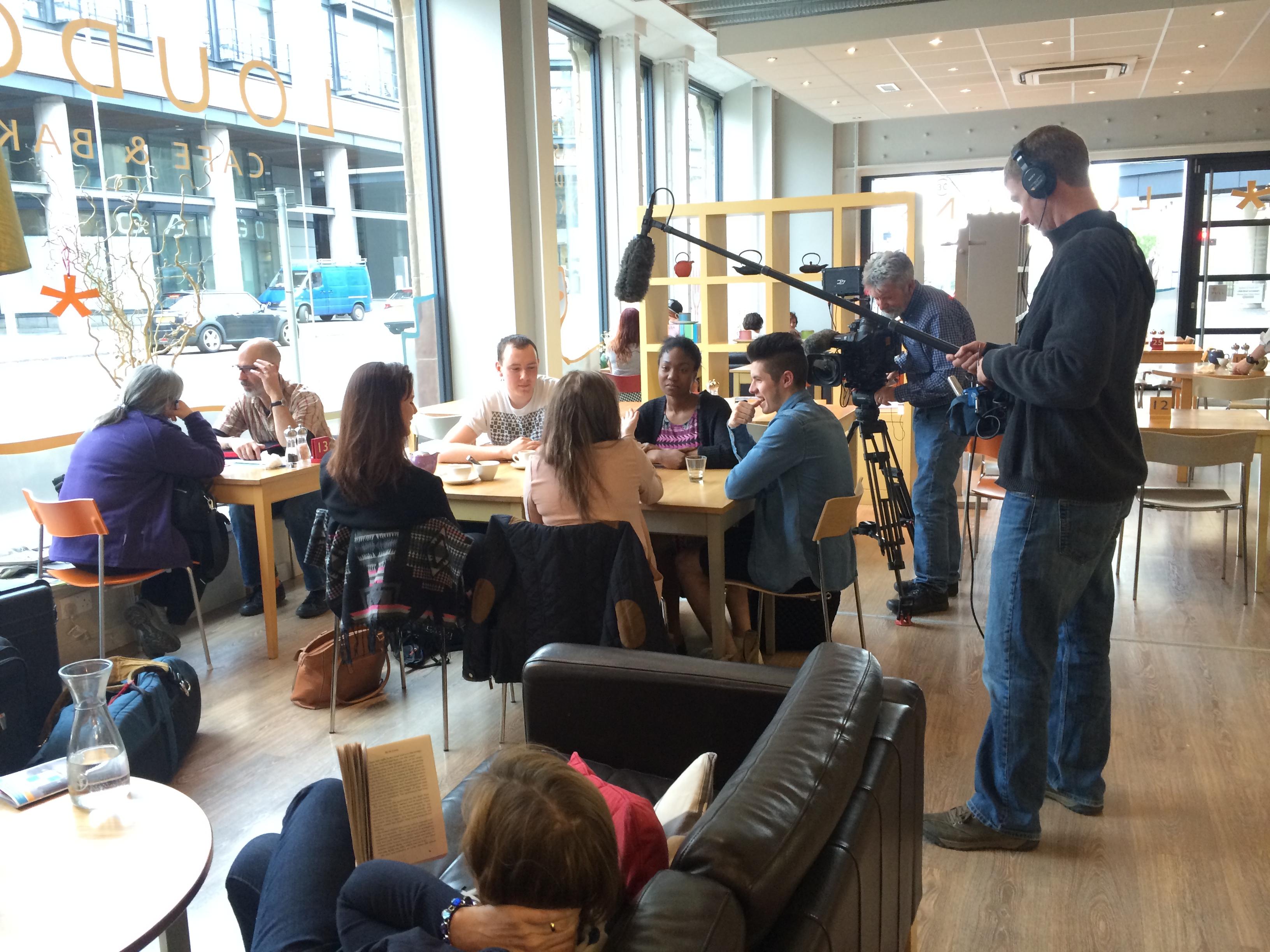 The 'student' scene is shot in Loudon Cafe, Fountainbridge.