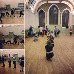 Russian dancing rehearsal for Fiddler